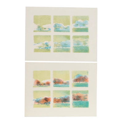 James Wilson Rayen Paneled Landscape Lithograph with Color Proof
