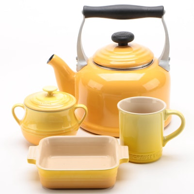 Le Creuset Dijon Tea Kettle with Soleil Stoneware Casserole and More