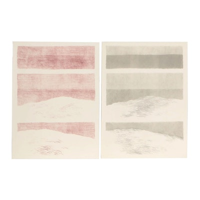 """James Wilson Rayen Lithograph Color Separation Proofs for """"Vertical Dunes"""""""