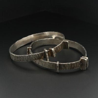 Sterling Silver Hammered Texture Oval Bangle Bracelets
