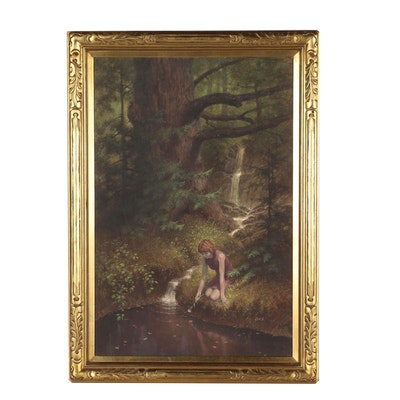 Darrell K. Sweet Oil Painting of Girl in Forest Landscape