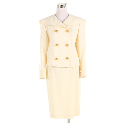 Miss V. Valentino Nautical Double-Breasted Skirt Suit in Cream-Colored Wool
