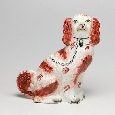 Antique Staffordshireware King Charles Spaniel Mantel Figural Hound