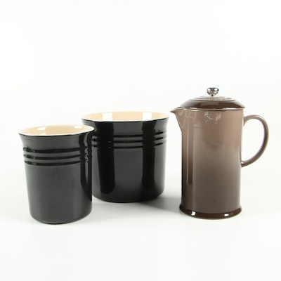 Le Creuset Oyster Stoneware French Press with Black Stoneware Canisters