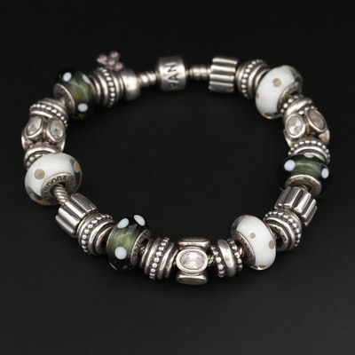 Pandora Sterling Silver Glass and Cubic Zirconia Full Charm Bracelet
