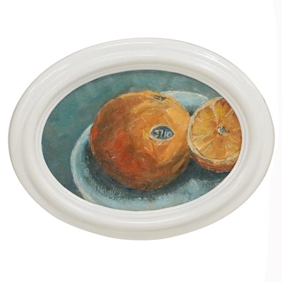 "Rebecca Manns Still Life Oil Painting ""Orange and Clementine"""
