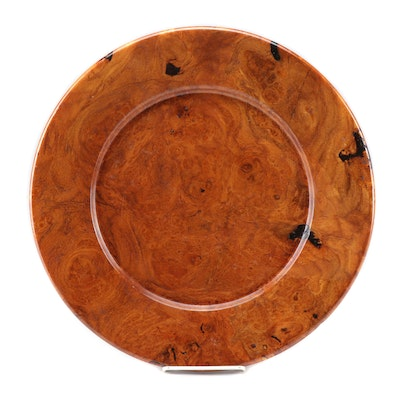 Turned Mesquite Burl Wood Platter, Signed and Dated