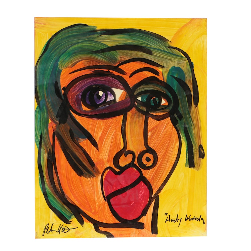 """Peter Keil Abstract Oil Painting """"Andy Warhol"""""""