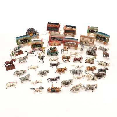 Silvan-Drew Model Circus Toy Train Cars, Plastic Calvary Horses, and More