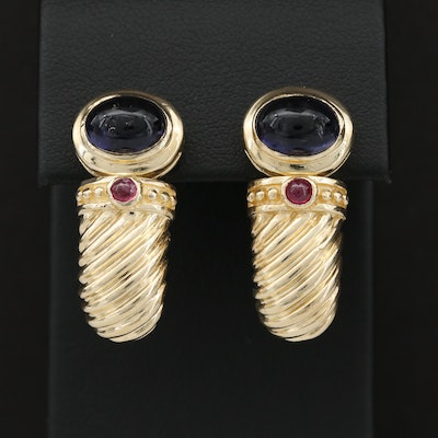14K Yellow Gold Iolite and Ruby Earrings