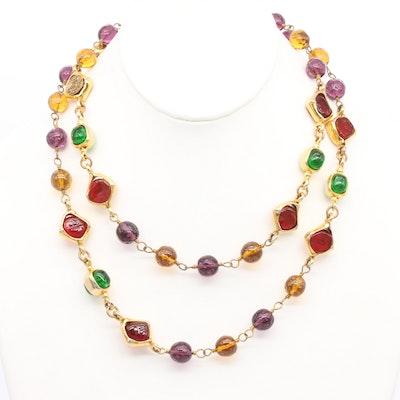 Vintage Chanel Multi-Colored Glass Gripoix Necklace