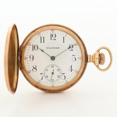 Antique 14K Gold Waltham Hunter Case Pocket Watch, Circa 1904