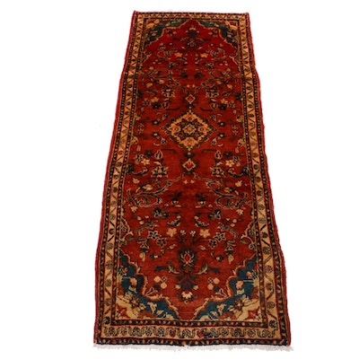3'5 x 9'6 Hand-Knotted Persian Zanjan Carpet Runner, 1960s