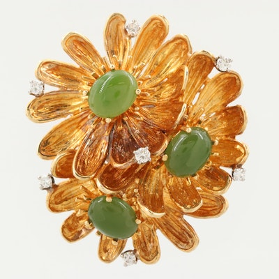 1950-1960s 18K Yellow Gold Nephrite and Diamond Floral Brooch