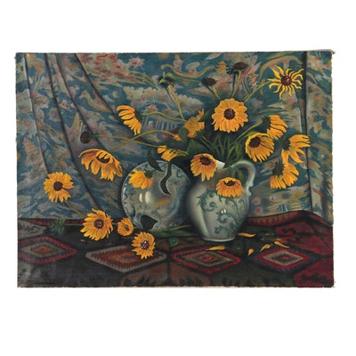 "Glenn Pearce Still Life Oil Painting ""Last Sunflowers"""