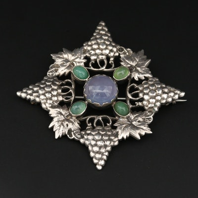 Vintage Sterling Silver Blue and Green Chalcedony Grapevine Brooch