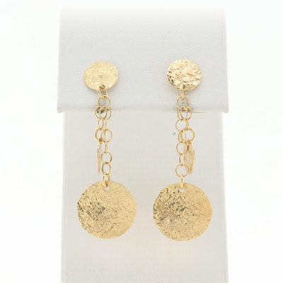 14K Yellow Gold Hammered Dangle Earrings