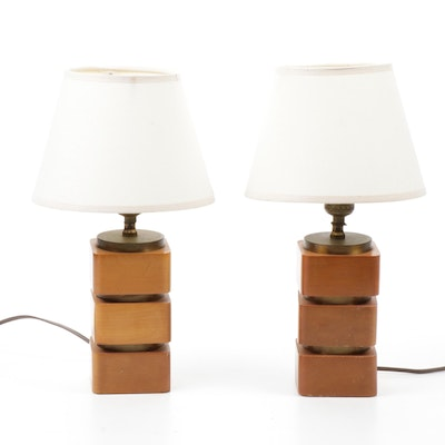 Maple Finish Wood and Brass Square Lamps, Mid-Century