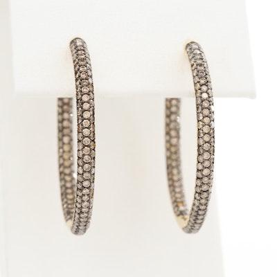 18K Yellow Gold 2.50 CTW Diamond Inside/Outside Hoop Earrings