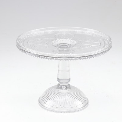 "EAPG Adams & Co ""Good Luck"" Pressed Glass Pedestal Cake Stand, Circa 1881"