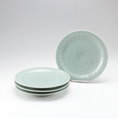 Chinese Celadon Double Koi Fish Dinner Plates