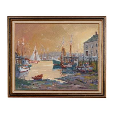 Charles Stepule Oil Painting of Harbor Scene, 1983