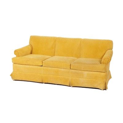 Sherill Furniture Yellow Corduroy Sofa, Mid-20th Century