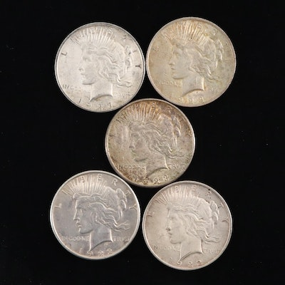 Five Silver Peace Dollars Including 1922, 1922-D, 1923, 1923-D, and 1923-S