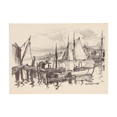 "Lithograph after Emile Albert Gruppe ""Harbor Scene"""