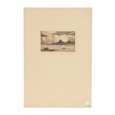 """Gerry Peirce Etching """"Ship and the Desert"""""""