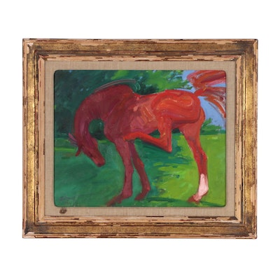 """Oil Painting """"Red Horse"""", 1936"""
