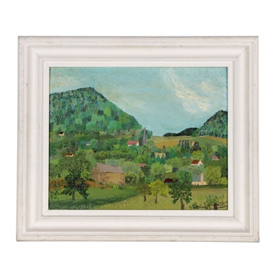 Mary Rossiter Antrobus Naive Style Landscape Oil Painting