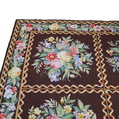 9'9 x 14'2 Needlepoint English Garden Panel Wool Area Rug