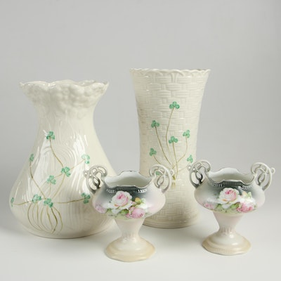 "Belleek ""Shamrock"" Vases with Pair of Hand Painted Porcelain Vases"
