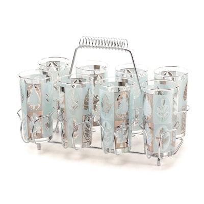 Mid Century Modern Libbey Leaf Motif Glasses with Chrome Caddy