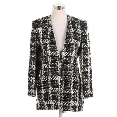 Ungaro Black and White Plaid Bouclé Knit Jacket
