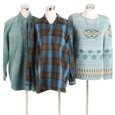 Lauren Ralph Lauren Knit Sweater, Plaid and Suede Jackets