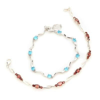 Sterling Silver Garnet and Glass Bracelets