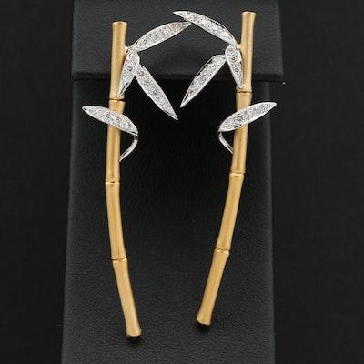 Carrera Y Carrera 18K Yellow and White Gold Diamond Bamboo Earrings