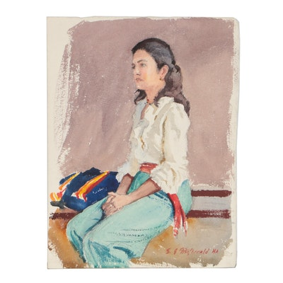 Edmond J. Fitzgerald Watercolor Portrait of Seated Woman