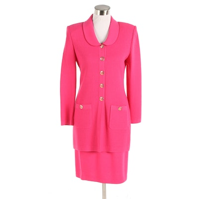 St. John Collection Pink Knit Skirt Suit