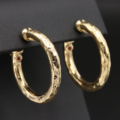 Roberto Coin 18K Yellow Gold Textured Hoop Earrings