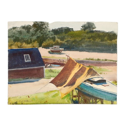 Edmond J. Fitzgerald Watercolor Painting of Harbor Scene