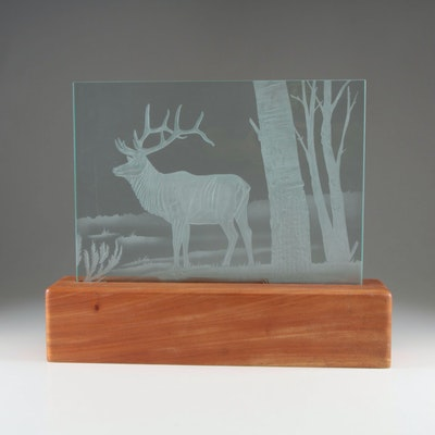 Frosted Glass Panel of Elk Scene with Illuminated Teak Base