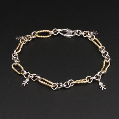 14K White and Yellow Gold Diamond Link Bracelet
