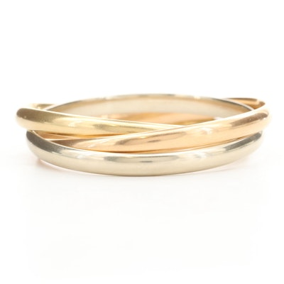 18K Yellow, Rose and White Gold Rolling Bangle Bracelet
