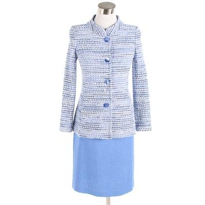 St. John Knit Skirt Suit in Blue, Black and White
