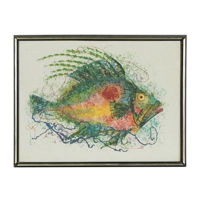 Tran Long Mixed Media Painting of Fish