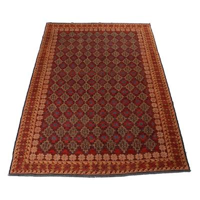 6'10 x 10'1 Handwoven Turkish Soumak Wool Rug, 1970s