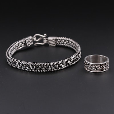 Sterling Silver Braid Motif Bracelet and Ring